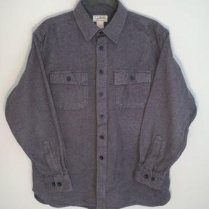 L.L. Bean men's gray chamois button down flannel